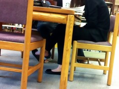 candid oriental library shoeplay feet dangling