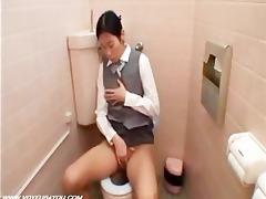 lustful gal throne room masturbates