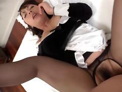 japanese hose maid sex nylon fuck