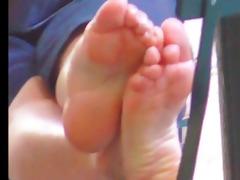 perspired older oriental feet