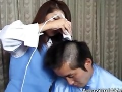 chap receives hair cut and penis sucked part0