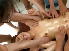 six chaps lie ayaka mizuhara down for a wild sexy