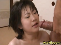 cute oriental babe engulfing hard and drilled
