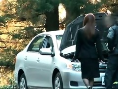 concupiscent girl receives her car broken and