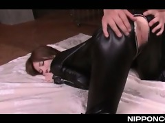sexy bodied jap whore in latex cunt glad with