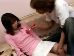 oriental girl teasing her bushy slit