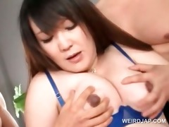 oriental three-some with preggy playgirl cookie