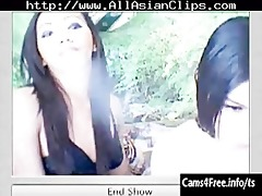 two hawt oriental lady-boys engulf rod on webcam!