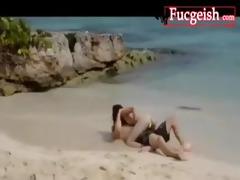 light skinned asian has fun on the beach movie