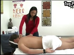 oriental uses her titties to massage