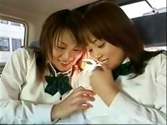 naugthy oriental schoolgirls at the backseat