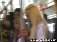 white coeds in tokyo subway!