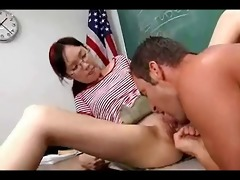 nerdy oriental lystra is screwed by teacher